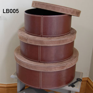 Round Leather Storage Boxes