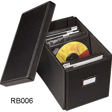 Black CD Leather Storage Box